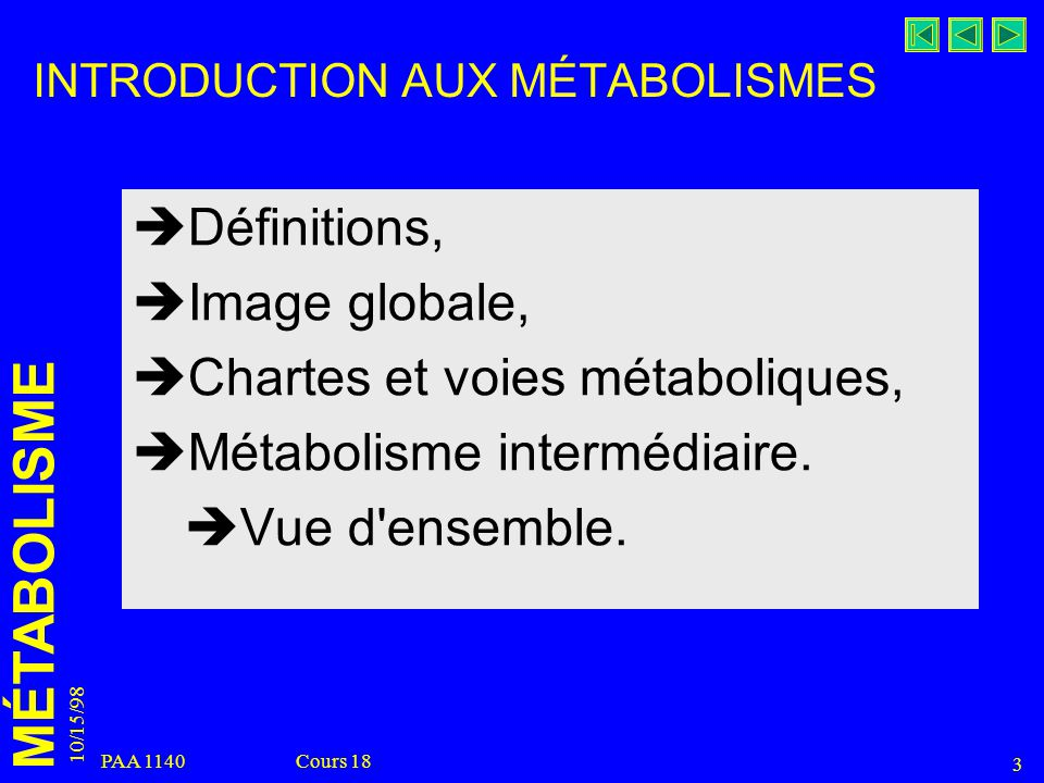 MÉTABOLISME 10/15/98 3 PAA 1140 Cours 18 INTRODUCTION AUX MÉTABOLISMES Définitions, Image globale, Chartes et voies métaboliques, Métabolisme interméd