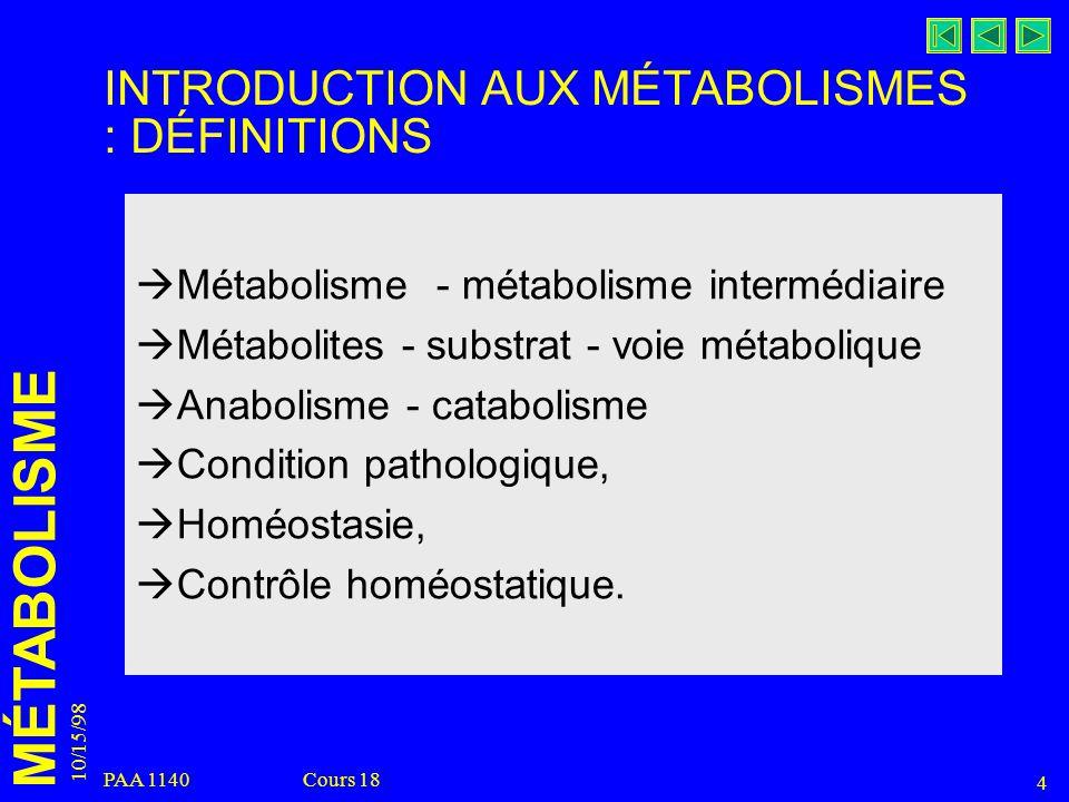 MÉTABOLISME 10/15/98 4 PAA 1140 Cours 18 INTRODUCTION AUX MÉTABOLISMES : DÉFINITIONS Métabolisme - métabolisme intermédiaire Métabolites - substrat -