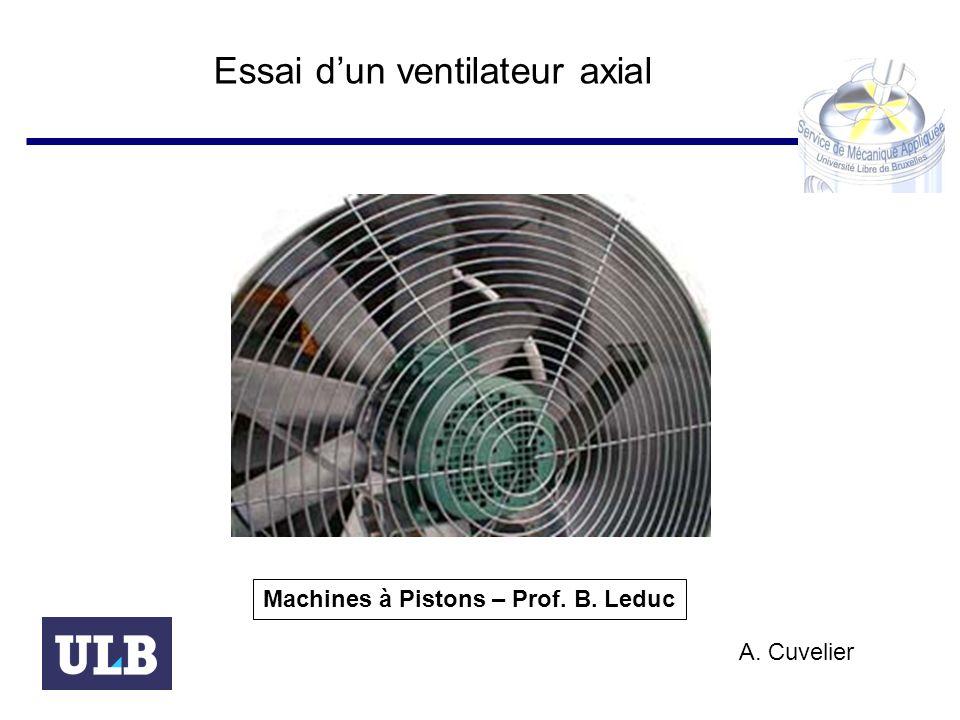 Essai dun ventilateur axial Machines à Pistons – Prof. B. Leduc A. Cuvelier
