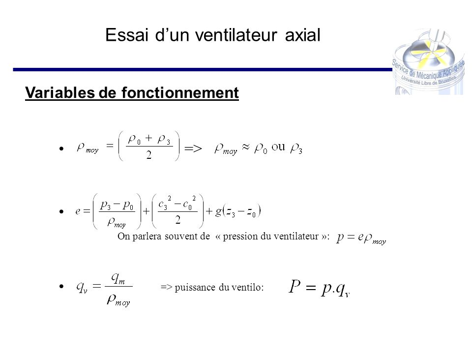 Essai dun ventilateur axial Conclusions – rendement Rendement maximum : ~57 % => point dadaptation Rendement minimum : ~15 % => courant de retour important