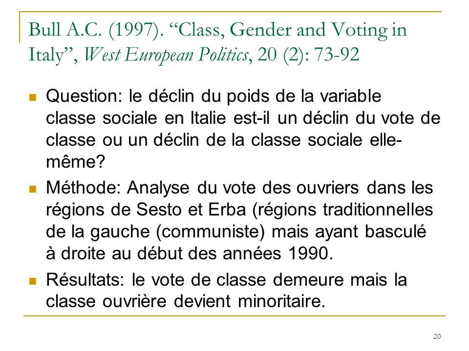Bull A.C. (1997). Class, Gender and Voting in Italy, West European Politics, 20 (2): 73-92 Question: le déclin du poids de la variable classe sociale