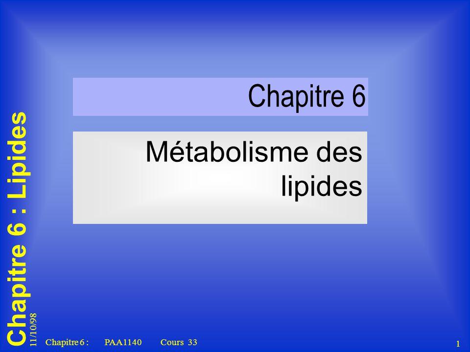 11/10/98 1 Chapitre 6 : PAA1140 Cours 33 Chapitre 6 : Lipides Chapitre 6 Métabolisme des lipides