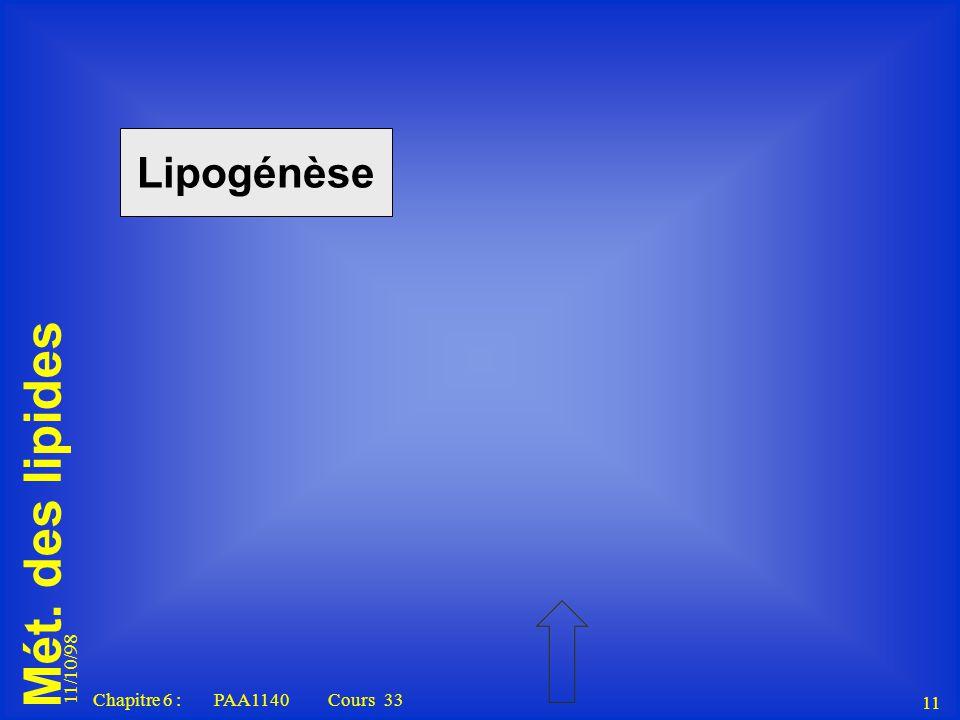 Mét. des lipides 11/10/98 11 Chapitre 6 : PAA1140 Cours 33 Lipogénèse