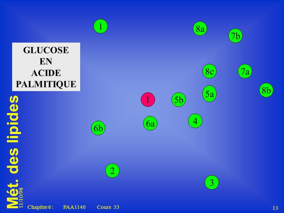 Mét. des lipides 11/10/98 13 Chapitre 6 : PAA1140 Cours 33 1 5b 5a 4 3 I 2 6a 6b 8a 7b 8b 8c7a GLUCOSE EN ACIDE PALMITIQUE