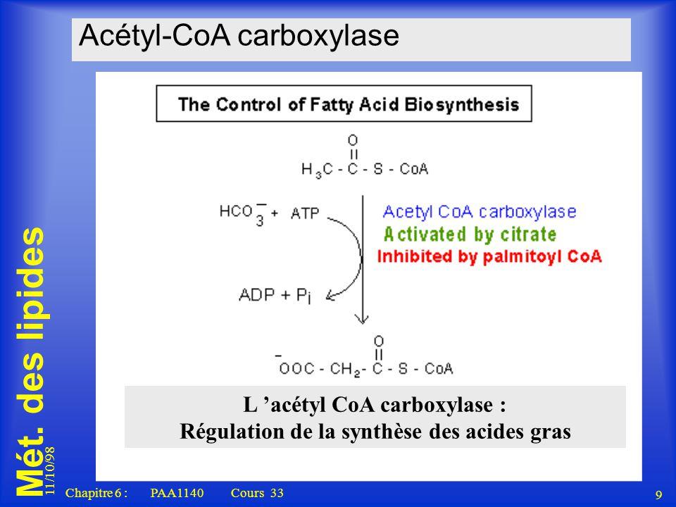 Mét. des lipides 11/10/98 9 Chapitre 6 : PAA1140 Cours 33 Acétyl-CoA carboxylase L acétyl CoA carboxylase : Régulation de la synthèse des acides gras