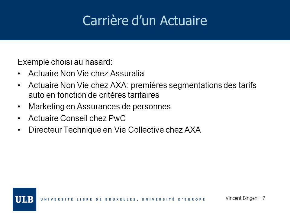 Vincent Bingen - 7 Carrière dun Actuaire Exemple choisi au hasard: Actuaire Non Vie chez Assuralia Actuaire Non Vie chez AXA: premières segmentations