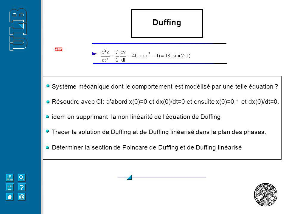 Duffing Système mécanique dont le comportement est modélisé par une telle équation ? Résoudre avec CI: d'abord x(0)=0 et dx(0)/dt=0 et ensuite x(0)=0.