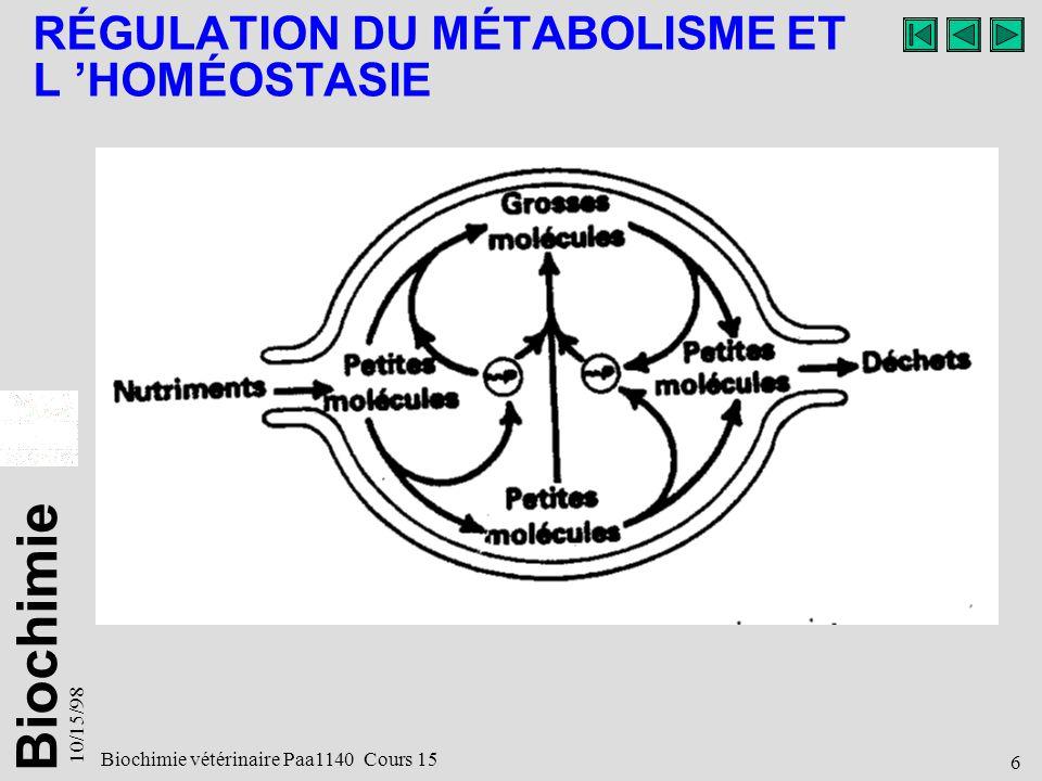 Biochimie 10/15/98 6 Biochimie vétérinaire Paa1140 Cours 15 RÉGULATION DU MÉTABOLISME ET L HOMÉOSTASIE