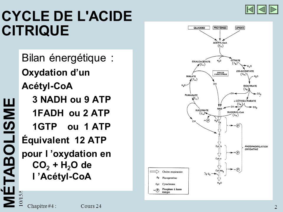 MÉTABOLISME 10/15/98 2 Chapitre #4 : Cours 24 CYCLE DE L'ACIDE CITRIQUE Bilan énergétique : Oxydation dun Acétyl-CoA 3 NADH ou 9 ATP 1FADH ou 2 ATP 1G