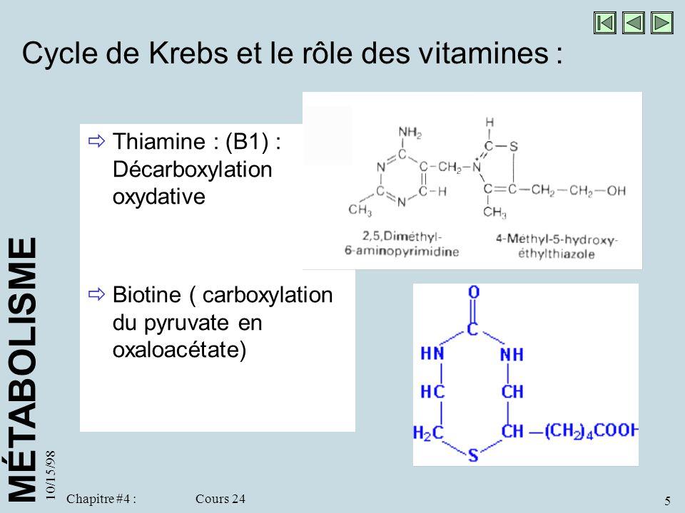 MÉTABOLISME 10/15/98 5 Chapitre #4 : Cours 24 Cycle de Krebs et le rôle des vitamines : Thiamine : (B1) : Décarboxylation oxydative Biotine ( carboxyl