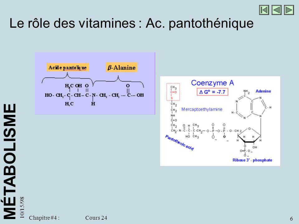 MÉTABOLISME 10/15/98 6 Chapitre #4 : Cours 24 Le rôle des vitamines : Ac. pantothénique