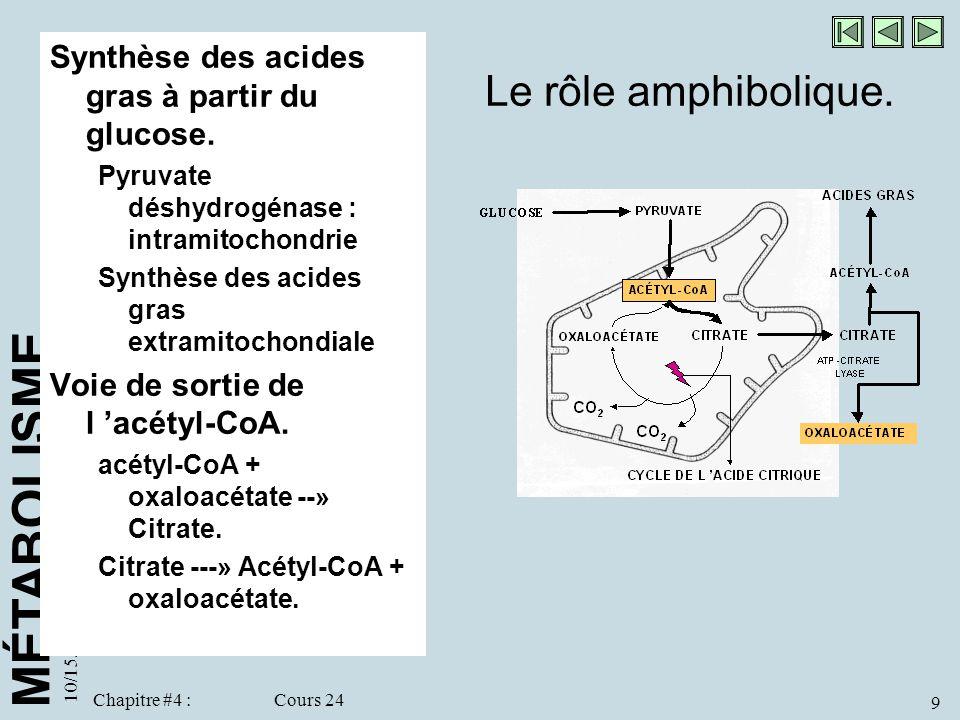 MÉTABOLISME 10/15/98 9 Chapitre #4 : Cours 24 Le rôle amphibolique. Synthèse des acides gras à partir du glucose. Pyruvate déshydrogénase : intramitoc