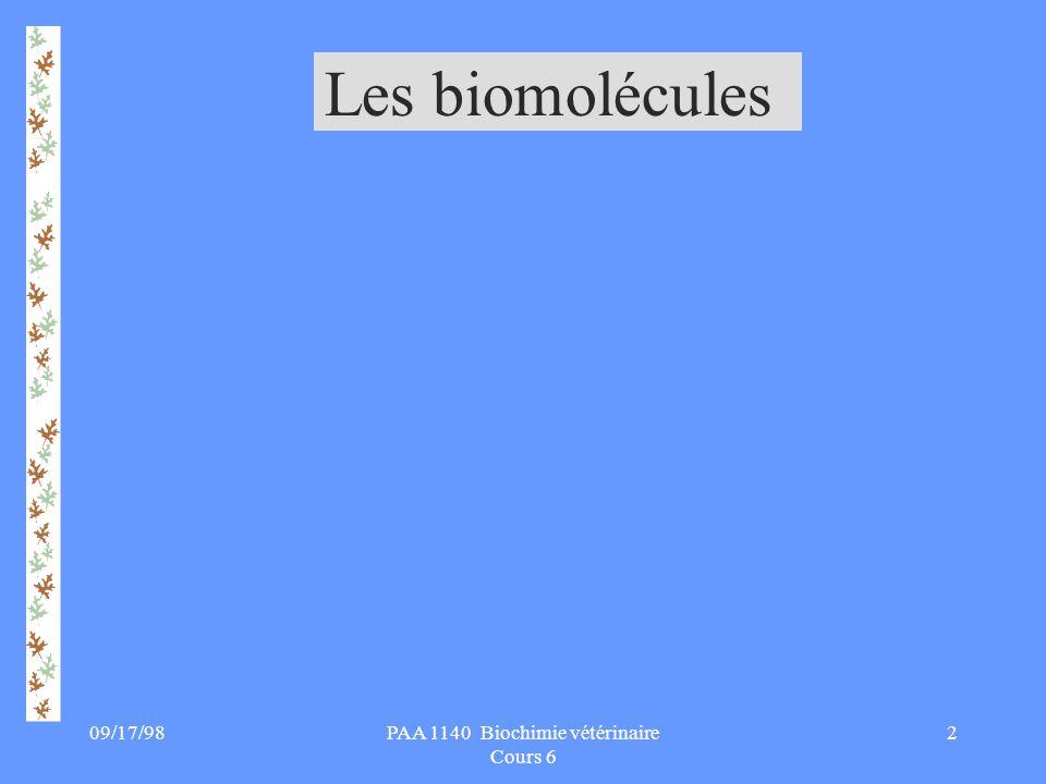 09/17/983PAA 1140 Biochimie vétérinaire Cours 6 Les biomolécules