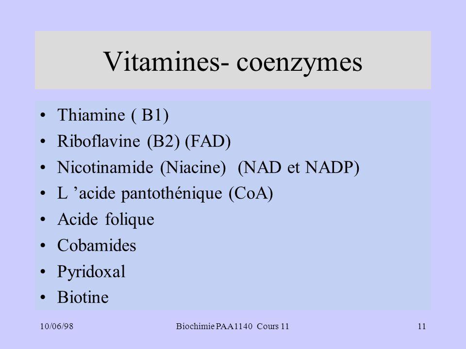 10/06/9811Biochimie PAA1140 Cours 11 Vitamines- coenzymes Thiamine ( B1) Riboflavine (B2) (FAD) Nicotinamide (Niacine) (NAD et NADP) L acide pantothénique (CoA) Acide folique Cobamides Pyridoxal Biotine