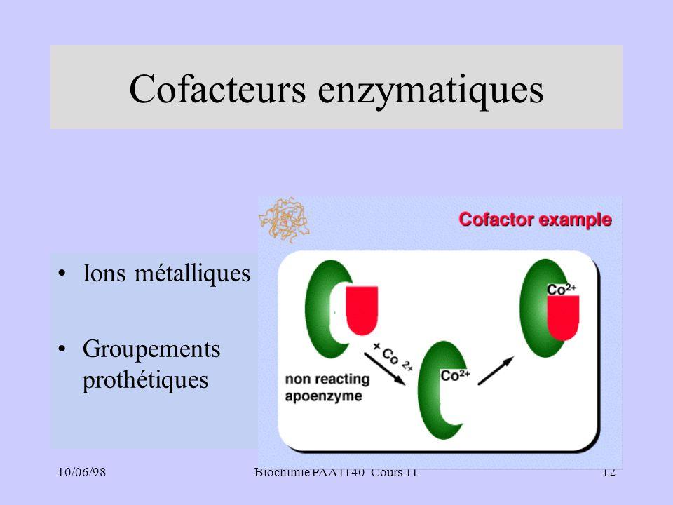 10/06/9812Biochimie PAA1140 Cours 11 Cofacteurs enzymatiques Ions métalliques Groupements prothétiques