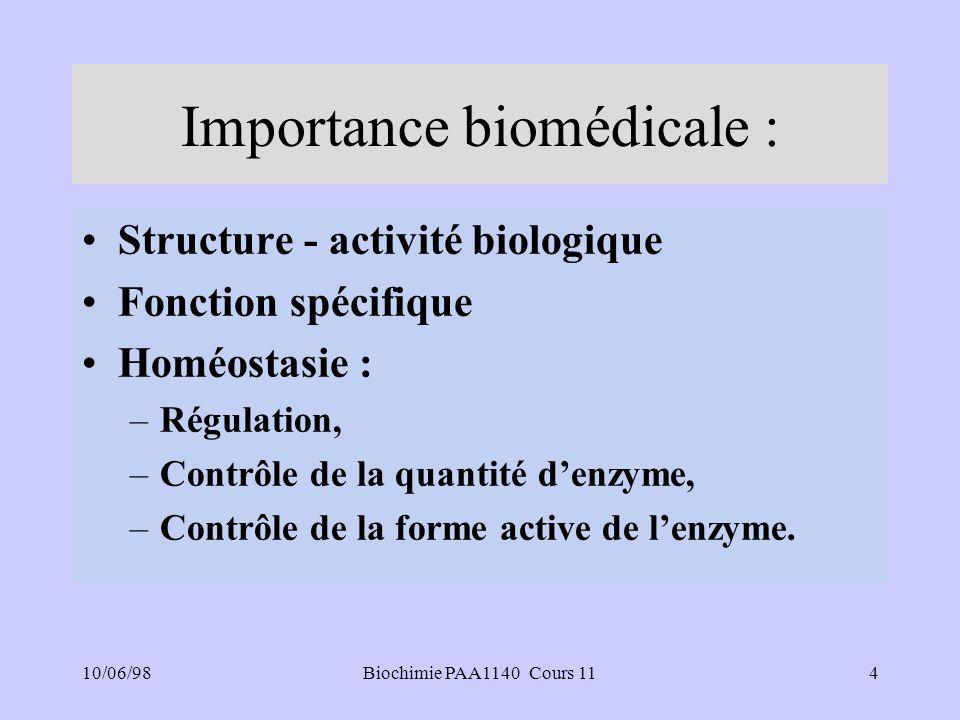 10/06/985Biochimie PAA1140 Cours 11 Importance biomédicale :