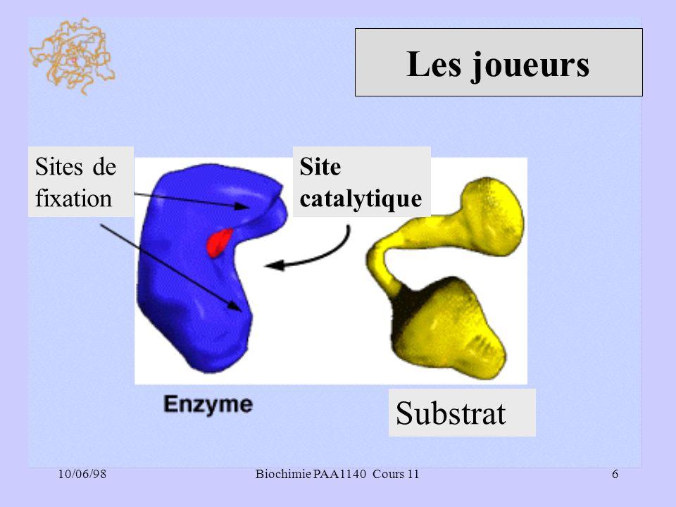 10/06/986Biochimie PAA1140 Cours 11 Les joueurs Sites de fixation Substrat Site catalytique