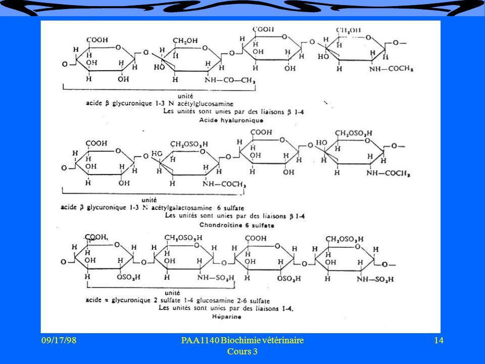 09/17/9814PAA1140 Biochimie vétérinaire Cours 3 Mucopolysaccharides
