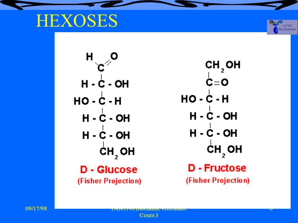 09/17/986PAA1140 Biochimie vétérinaire Cours 3 HEXOSES