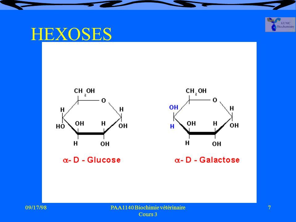 09/17/987PAA1140 Biochimie vétérinaire Cours 3 HEXOSES