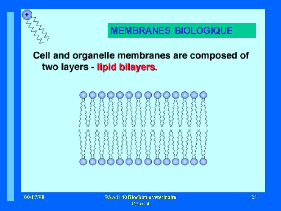 09/17/9821PAA1140 Biochimie vétérinaire Cours 4 MEMBRANES BIOLOGIQUE