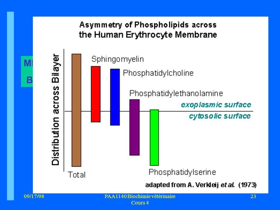 09/17/9823PAA1140 Biochimie vétérinaire Cours 4 MEMBRANE BIOLOGIQUE