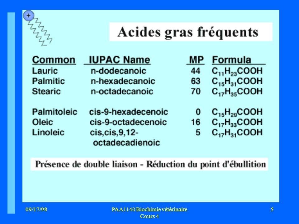 09/17/985PAA1140 Biochimie vétérinaire Cours 4