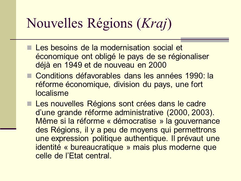 Nouvelles Régions (Kraj) Les besoins de la modernisation social et économique ont obligé le pays de se régionaliser déjà en 1949 et de nouveau en 2000 Conditions défavorables dans les années 1990: la réforme économique, division du pays, une fort localisme Les nouvelles Régions sont crées dans le cadre dune grande réforme administrative (2000, 2003).