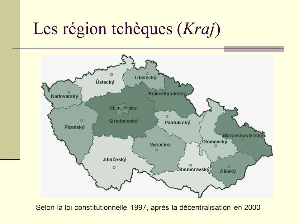 Les région tchèques (Kraj) Selon la loi constitutionnelle 1997, après la décentralisation en 2000