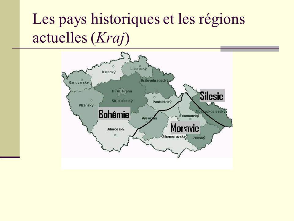 Les pays historiques et les régions actuelles (Kraj)