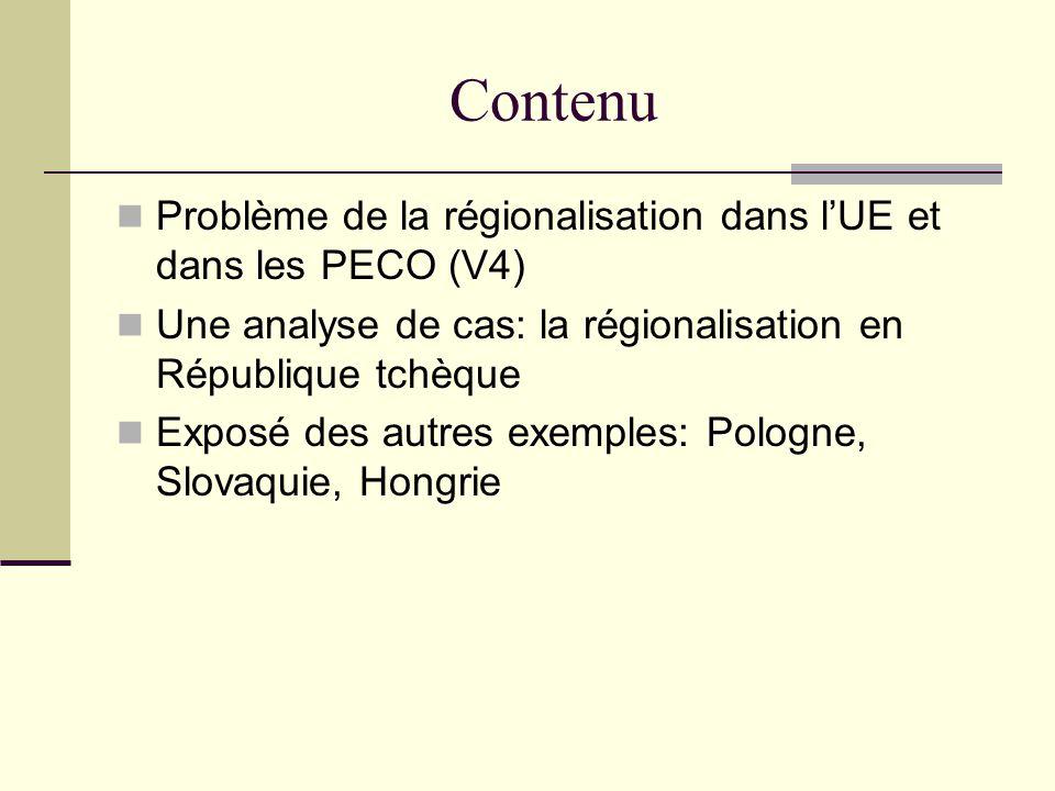 Une régionalisation Un niveau « infranational » Déf.: « niveau immédiatement au-dessous de lEtat » À quel dégrée: 2 ou 3 niveaux.