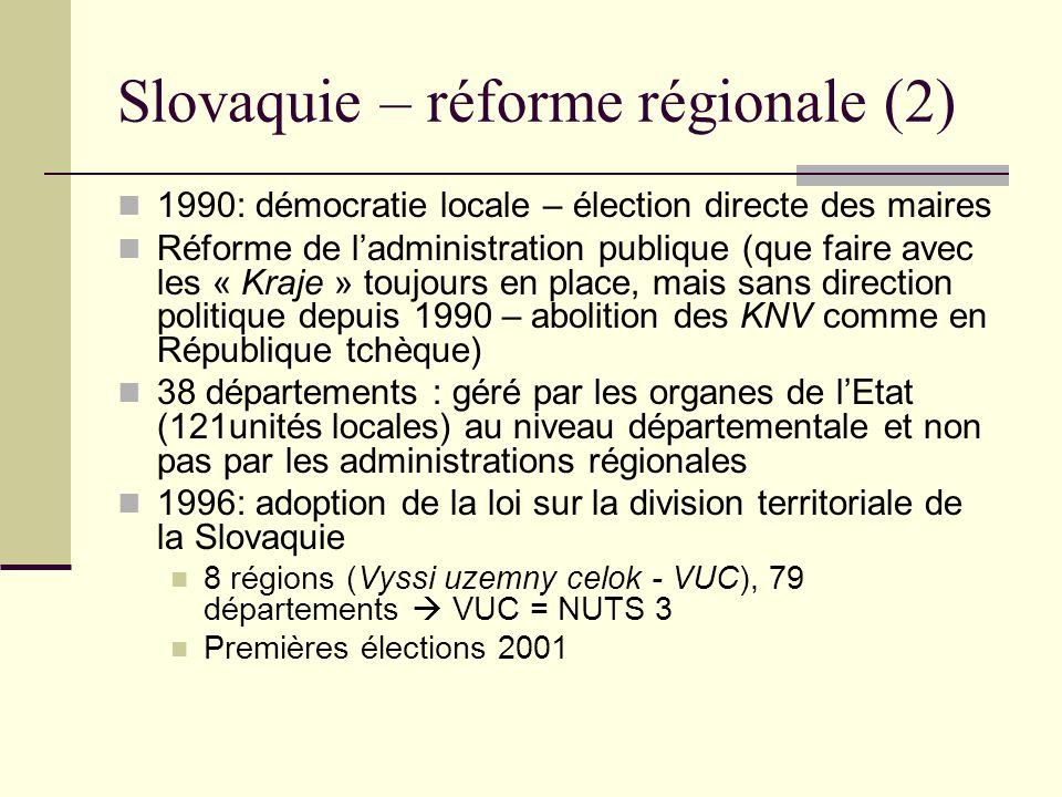 Slovaquie – réforme régionale (2) 1990: démocratie locale – élection directe des maires Réforme de ladministration publique (que faire avec les « Kraje » toujours en place, mais sans direction politique depuis 1990 – abolition des KNV comme en République tchèque) 38 départements : géré par les organes de lEtat (121unités locales) au niveau départementale et non pas par les administrations régionales 1996: adoption de la loi sur la division territoriale de la Slovaquie 8 régions (Vyssi uzemny celok - VUC), 79 départements VUC = NUTS 3 Premières élections 2001