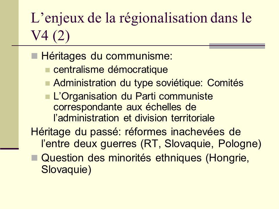 « Régions » = Kraje (1) Une forme mixte Une Assemblé élue au suffrage universel, mais des tailles différents (45, 55, 65 députés régionales).