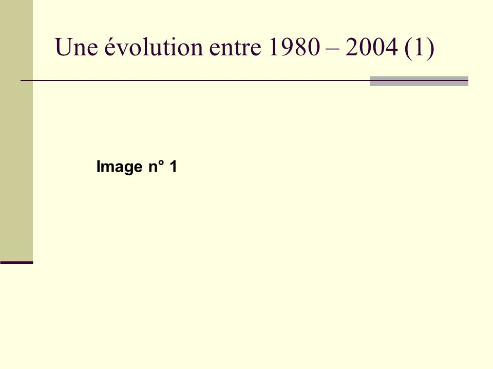 Une évolution entre 1980 – 2004 (1) Image n° 1
