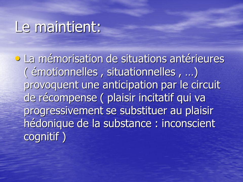 Le maintient: La mémorisation de situations antérieures ( émotionnelles, situationnelles, …) provoquent une anticipation par le circuit de récompense ( plaisir incitatif qui va progressivement se substituer au plaisir hédonique de la substance : inconscient cognitif ) La mémorisation de situations antérieures ( émotionnelles, situationnelles, …) provoquent une anticipation par le circuit de récompense ( plaisir incitatif qui va progressivement se substituer au plaisir hédonique de la substance : inconscient cognitif )