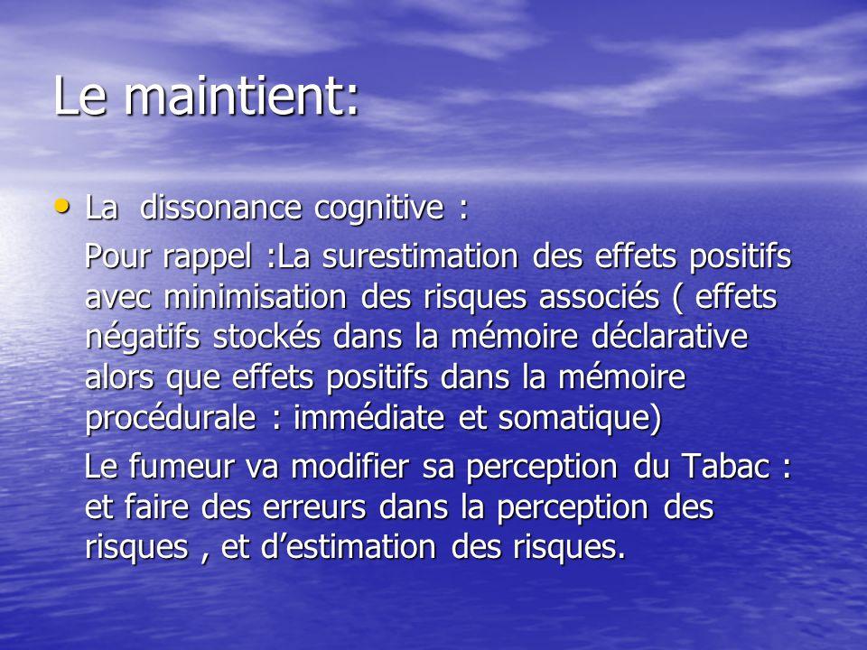 Le maintient: La dissonance cognitive : La dissonance cognitive : Pour rappel :La surestimation des effets positifs avec minimisation des risques associés ( effets négatifs stockés dans la mémoire déclarative alors que effets positifs dans la mémoire procédurale : immédiate et somatique) Pour rappel :La surestimation des effets positifs avec minimisation des risques associés ( effets négatifs stockés dans la mémoire déclarative alors que effets positifs dans la mémoire procédurale : immédiate et somatique) Le fumeur va modifier sa perception du Tabac : et faire des erreurs dans la perception des risques, et destimation des risques.