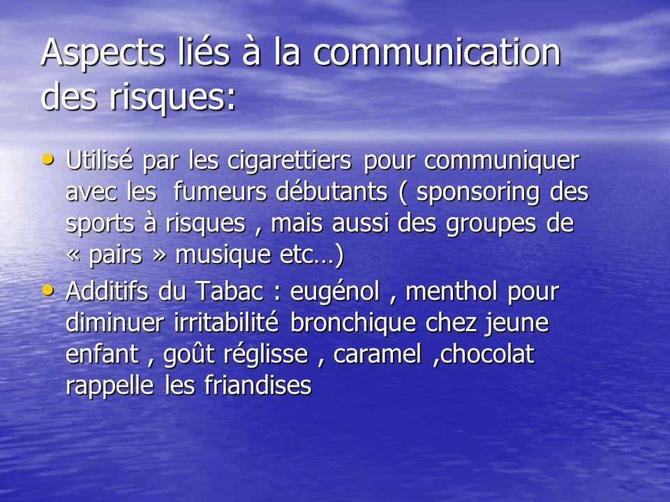 Aspects liés à la communication des risques: Utilisé par les cigarettiers pour communiquer avec les fumeurs débutants ( sponsoring des sports à risques, mais aussi des groupes de « pairs » musique etc…) Utilisé par les cigarettiers pour communiquer avec les fumeurs débutants ( sponsoring des sports à risques, mais aussi des groupes de « pairs » musique etc…) Additifs du Tabac : eugénol, menthol pour diminuer irritabilité bronchique chez jeune enfant, goût réglisse, caramel,chocolat rappelle les friandises Additifs du Tabac : eugénol, menthol pour diminuer irritabilité bronchique chez jeune enfant, goût réglisse, caramel,chocolat rappelle les friandises