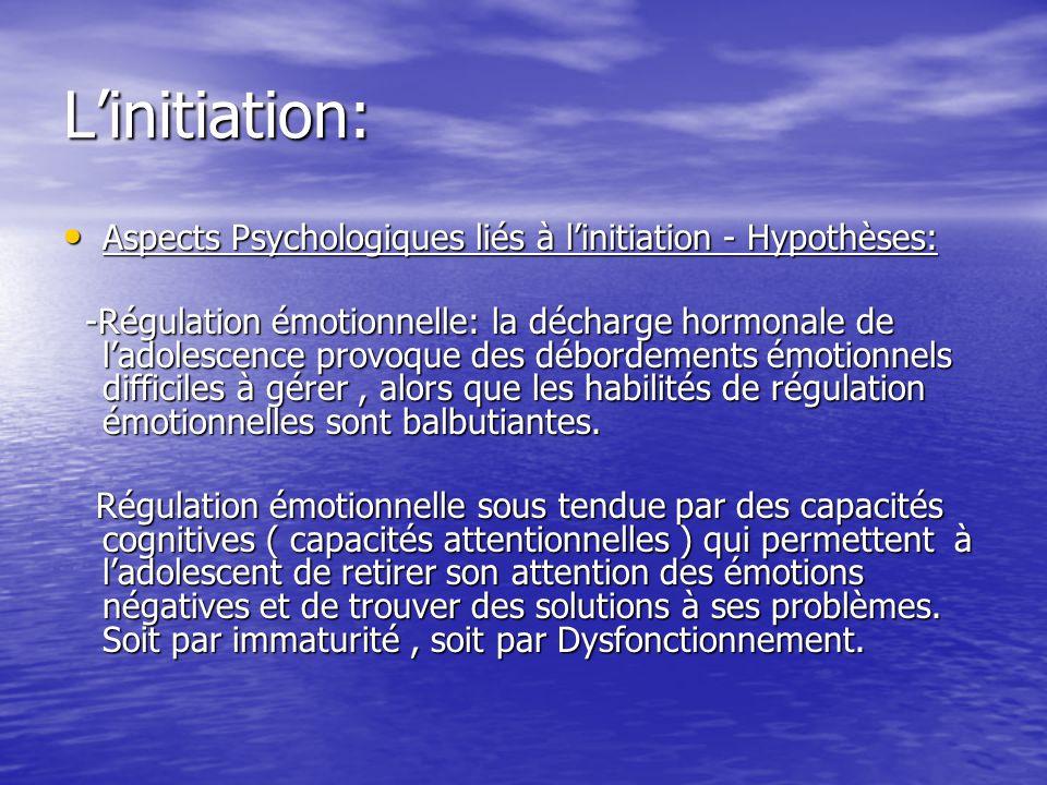 Linitiation: Aspects Psychologiques liés à linitiation - Hypothèses: Aspects Psychologiques liés à linitiation - Hypothèses: -Régulation émotionnelle: la décharge hormonale de ladolescence provoque des débordements émotionnels difficiles à gérer, alors que les habilités de régulation émotionnelles sont balbutiantes.