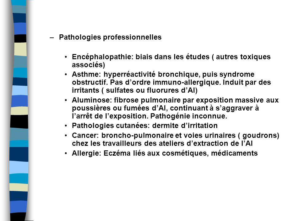 –Pathologies professionnelles Encéphalopathie: biais dans les études ( autres toxiques associés) Asthme: hyperréactivité bronchique, puis syndrome obstructif.