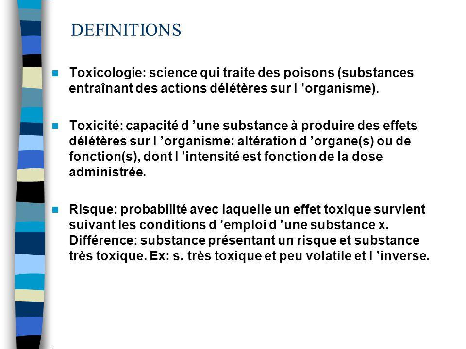 DEFINITIONS Toxicologie: science qui traite des poisons (substances entraînant des actions délétères sur l organisme).