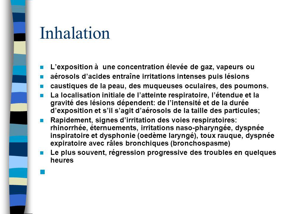 Inhalation Lexposition à une concentration élevée de gaz, vapeurs ou aérosols dacides entraîne irritations intenses puis lésions caustiques de la peau, des muqueuses oculaires, des poumons.
