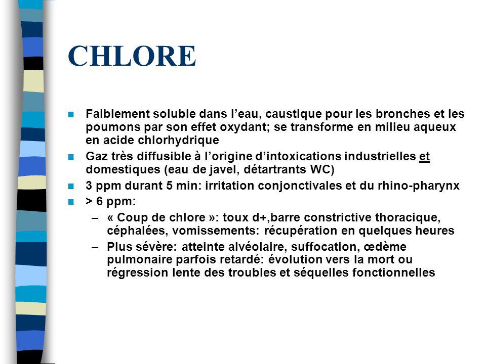 CHLORE Faiblement soluble dans leau, caustique pour les bronches et les poumons par son effet oxydant; se transforme en milieu aqueux en acide chlorhydrique Gaz très diffusible à lorigine dintoxications industrielles et domestiques (eau de javel, détartrants WC) 3 ppm durant 5 min: irritation conjonctivales et du rhino-pharynx > 6 ppm: –« Coup de chlore »: toux d+,barre constrictive thoracique, céphalées, vomissements: récupération en quelques heures –Plus sévère: atteinte alvéolaire, suffocation, œdème pulmonaire parfois retardé: évolution vers la mort ou régression lente des troubles et séquelles fonctionnelles