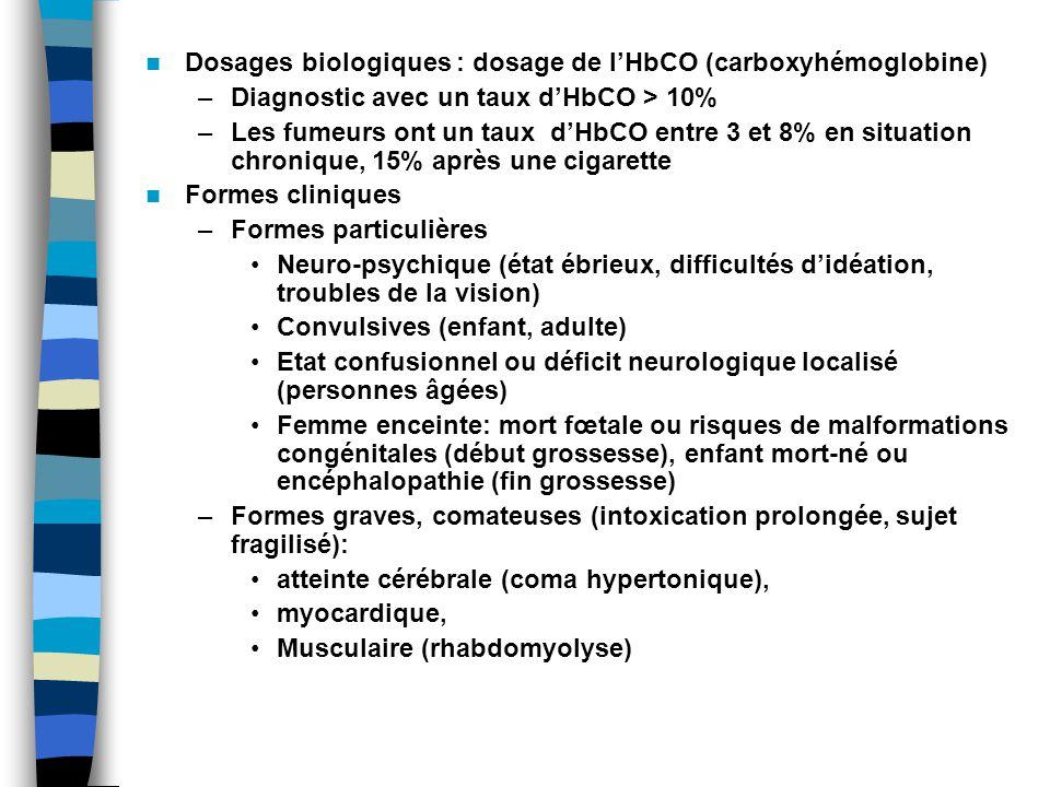 Dosages biologiques : dosage de lHbCO (carboxyhémoglobine) –Diagnostic avec un taux dHbCO > 10% –Les fumeurs ont un taux dHbCO entre 3 et 8% en situation chronique, 15% après une cigarette Formes cliniques –Formes particulières Neuro-psychique (état ébrieux, difficultés didéation, troubles de la vision) Convulsives (enfant, adulte) Etat confusionnel ou déficit neurologique localisé (personnes âgées) Femme enceinte: mort fœtale ou risques de malformations congénitales (début grossesse), enfant mort-né ou encéphalopathie (fin grossesse) –Formes graves, comateuses (intoxication prolongée, sujet fragilisé): atteinte cérébrale (coma hypertonique), myocardique, Musculaire (rhabdomyolyse)