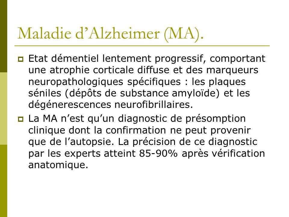 Maladie dAlzheimer (MA). Etat démentiel lentement progressif, comportant une atrophie corticale diffuse et des marqueurs neuropathologiques spécifique