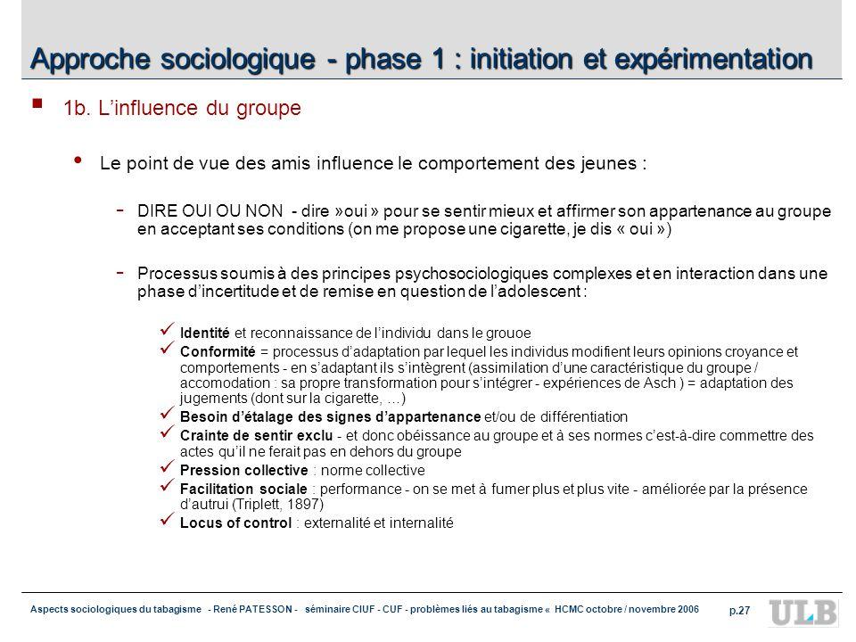 Aspects sociologiques du tabagisme - René PATESSON - séminaire CIUF - CUF - problèmes liés au tabagisme « HCMC octobre / novembre 2006 p.27 Approche sociologique - phase 1 : initiation et expérimentation 1b.