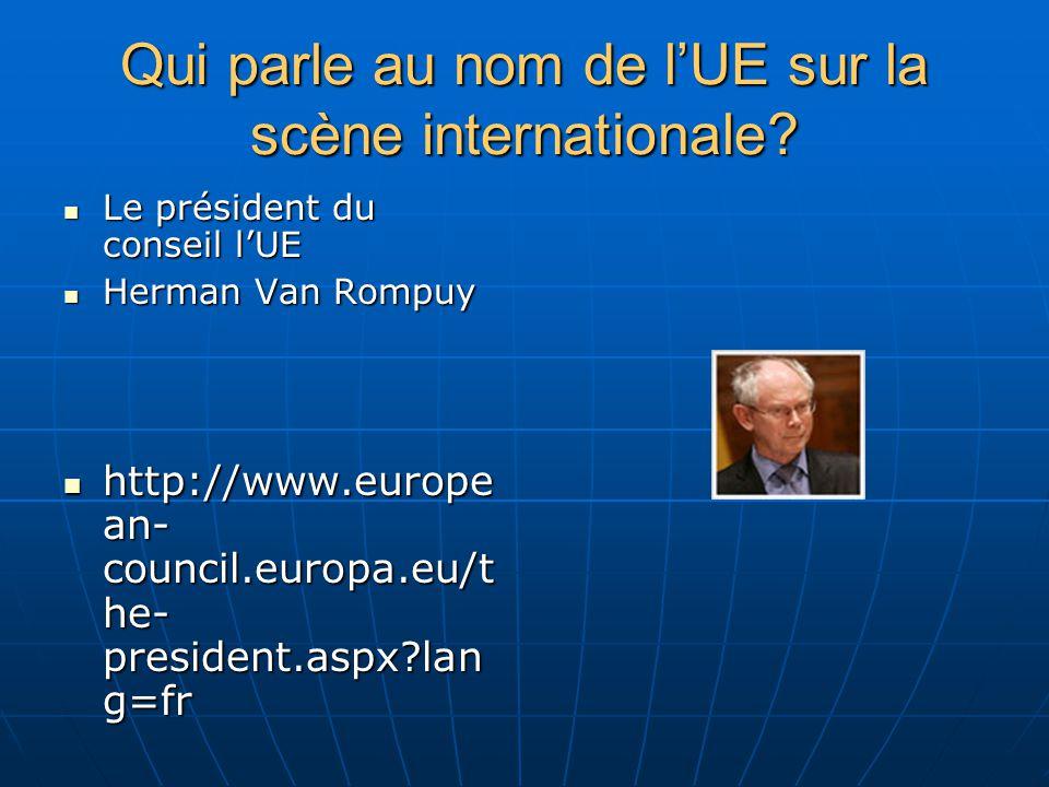 Qui parle au nom de lUE sur la scène internationale.