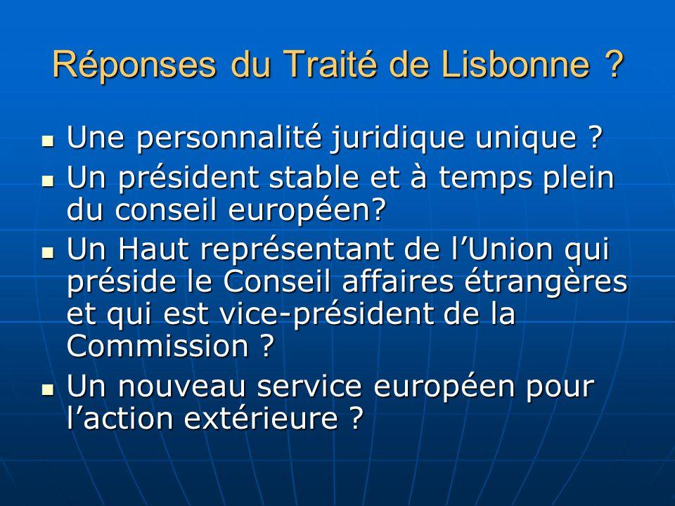 Réponses du Traité de Lisbonne . Une personnalité juridique unique .