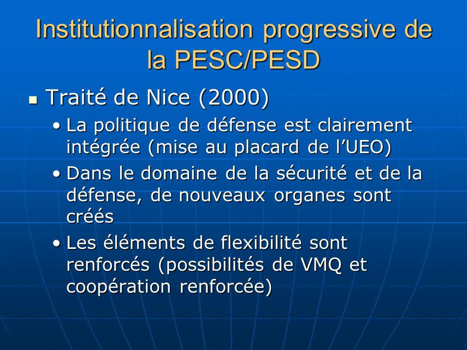 Institutionnalisation progressive de la PESC/PESD Traité de Nice (2000) Traité de Nice (2000) La politique de défense est clairement intégrée (mise au placard de lUEO)La politique de défense est clairement intégrée (mise au placard de lUEO) Dans le domaine de la sécurité et de la défense, de nouveaux organes sont créésDans le domaine de la sécurité et de la défense, de nouveaux organes sont créés Les éléments de flexibilité sont renforcés (possibilités de VMQ et coopération renforcée)Les éléments de flexibilité sont renforcés (possibilités de VMQ et coopération renforcée)