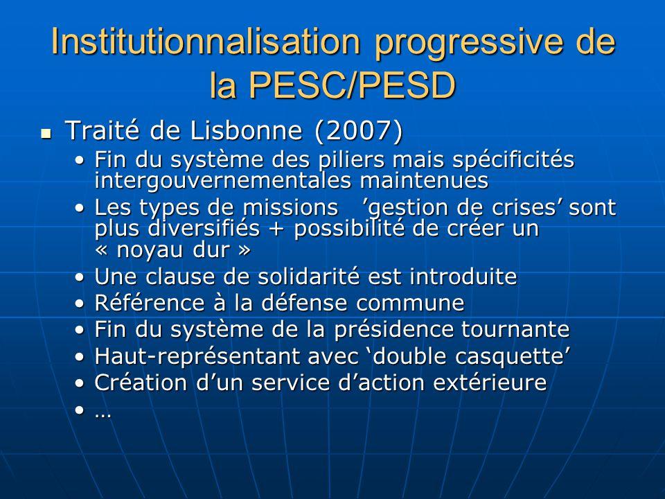 Institutionnalisation progressive de la PESC/PESD Traité de Lisbonne (2007) Traité de Lisbonne (2007) Fin du système des piliers mais spécificités intergouvernementales maintenuesFin du système des piliers mais spécificités intergouvernementales maintenues Les types de missions gestion de crises sont plus diversifiés + possibilité de créer un « noyau dur »Les types de missions gestion de crises sont plus diversifiés + possibilité de créer un « noyau dur » Une clause de solidarité est introduiteUne clause de solidarité est introduite Référence à la défense communeRéférence à la défense commune Fin du système de la présidence tournanteFin du système de la présidence tournante Haut-représentant avec double casquetteHaut-représentant avec double casquette Création dun service daction extérieureCréation dun service daction extérieure …
