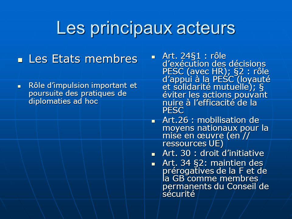 Les principaux acteurs Les Etats membres Les Etats membres Rôle dimpulsion important et poursuite des pratiques de diplomaties ad hoc Rôle dimpulsion important et poursuite des pratiques de diplomaties ad hoc Art.